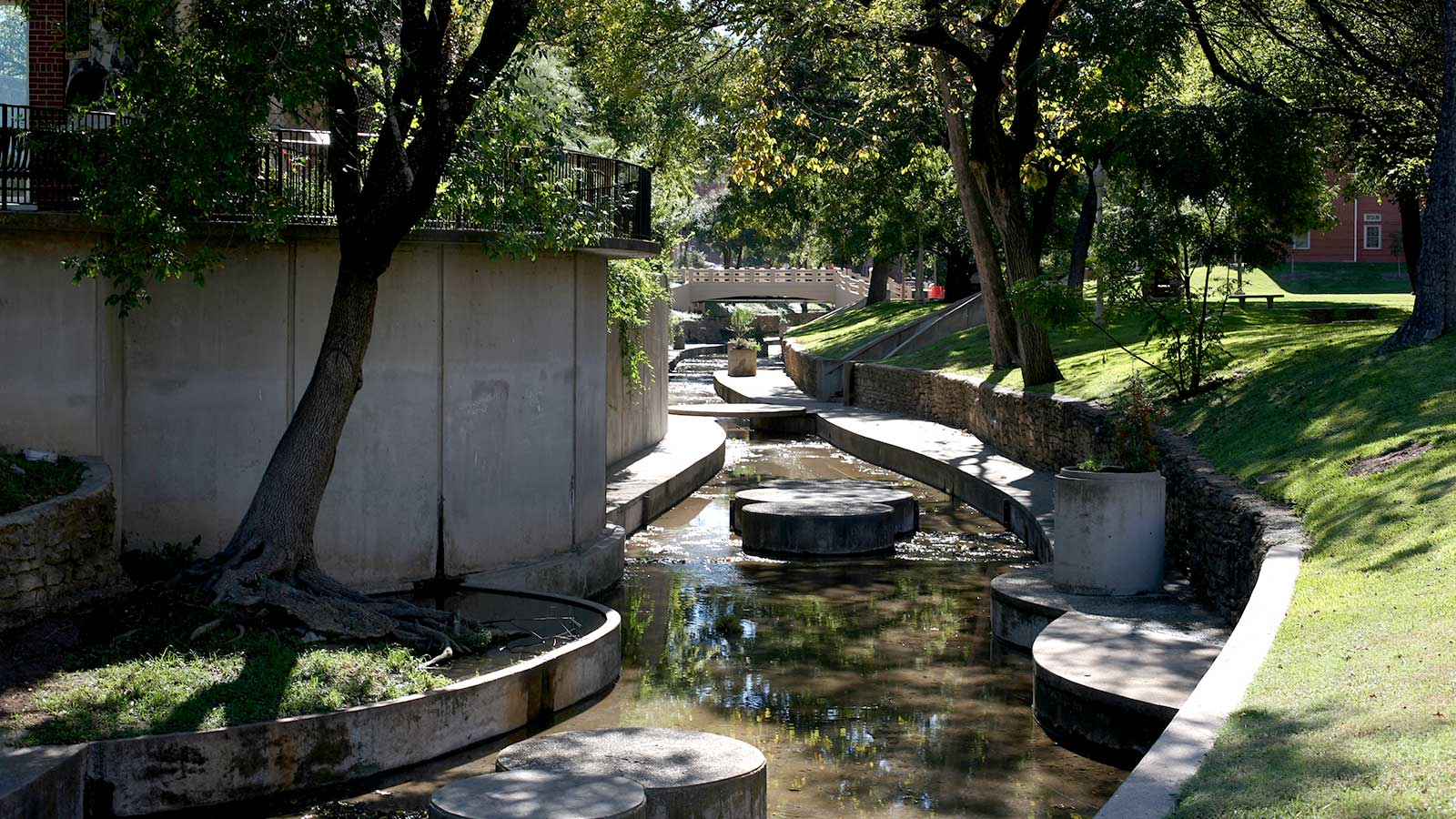Waco Creek provides a peaceful walkway stretching from the Family and Consumer Sciences Building to the Bear Habitat.