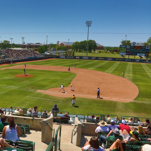 Baylor Ballpark is a beautiful facility constructed of red brick and exposed green steel beams, which complement the attractive architecture already found on the Baylor campus. The stadium was designed to ensure outstanding sightlines and comfort for fans, as well as meet the needs of the country's finest college baseball players.
