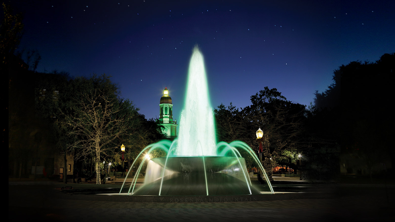 Dedicated in 2015, the Rosenbalm Fountain brings the fountain back to Fountain Mall. The fountain bowl is 4-feet high and 20 feet in diameter and weighs more than 17,000 tons. Water jets and lights create a majestic display to Baylor's already beautiful campus.
