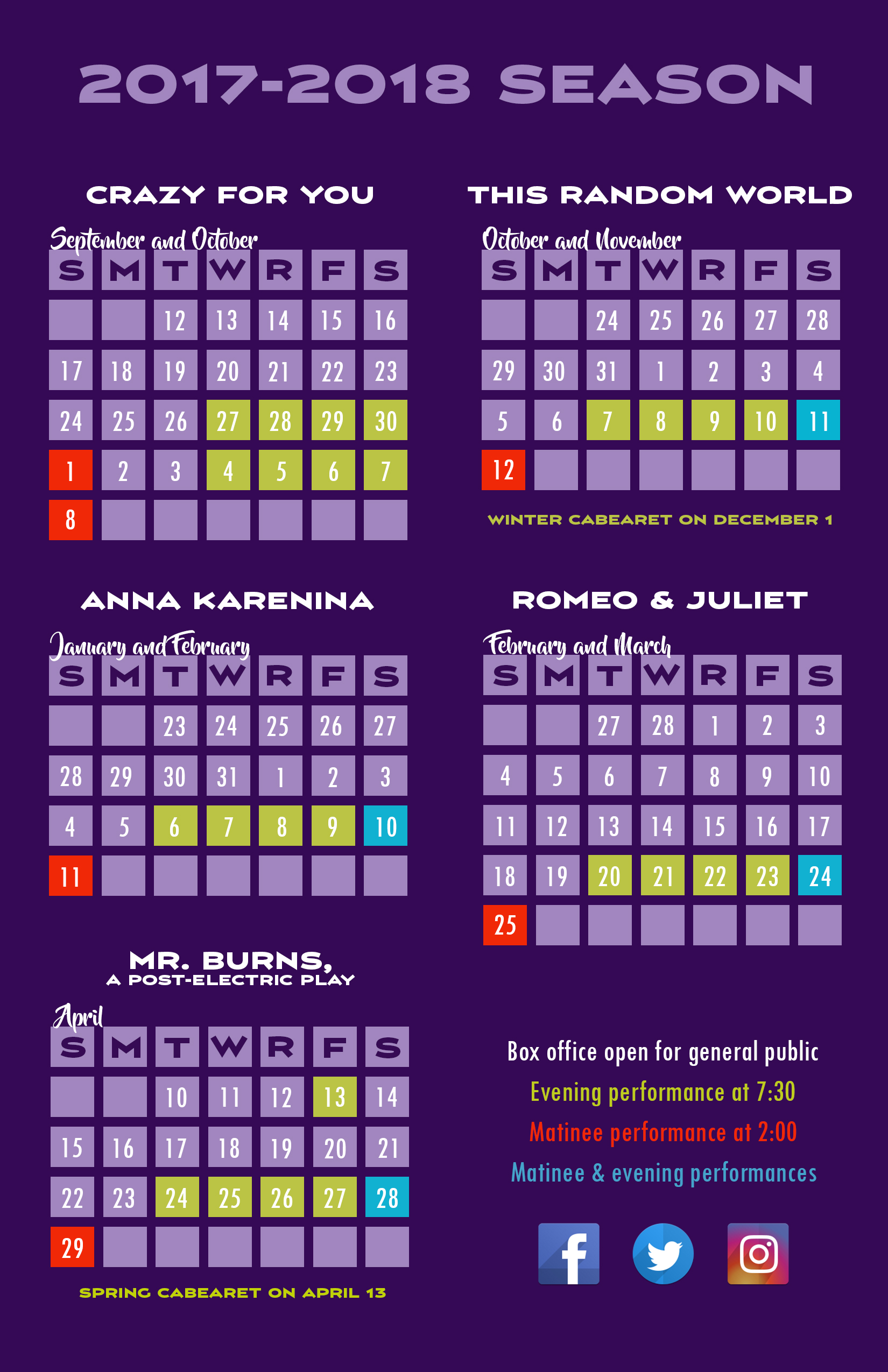 2017-18 Season Calendar