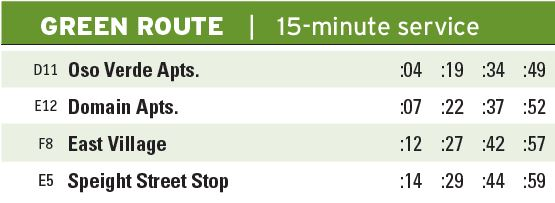 Green Route Times