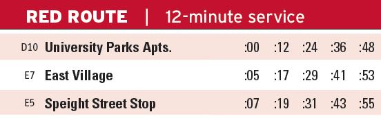 Red Route Times