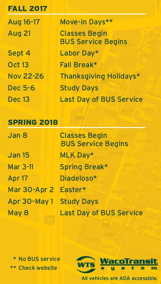 BUS Calendar of Service 2017 2018