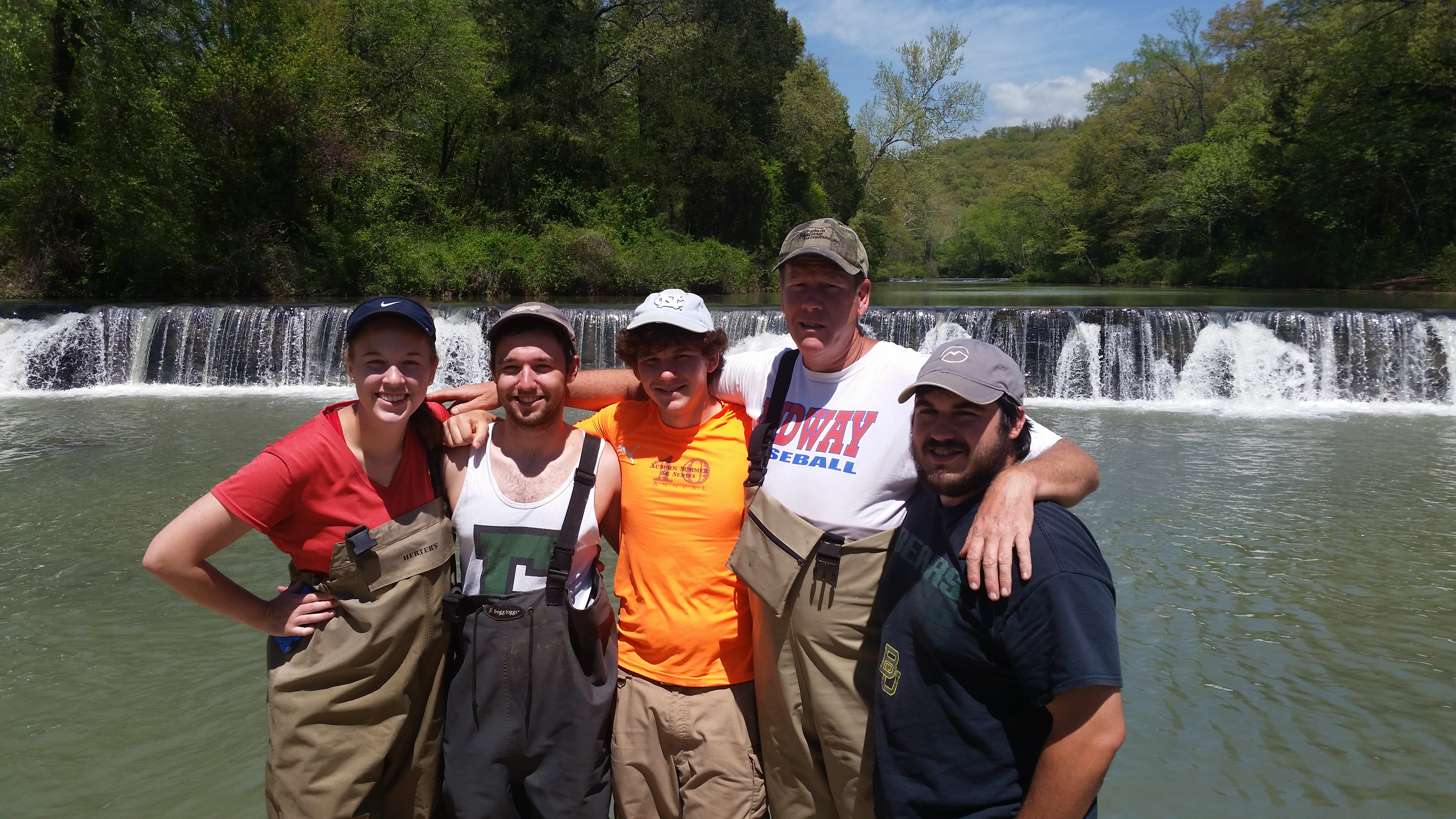 Group photo of students and faculty at Mountain Fork Creek Falls