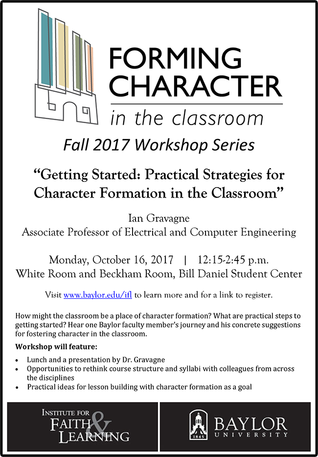 2017 Forming Character in the Classroom Flyer
