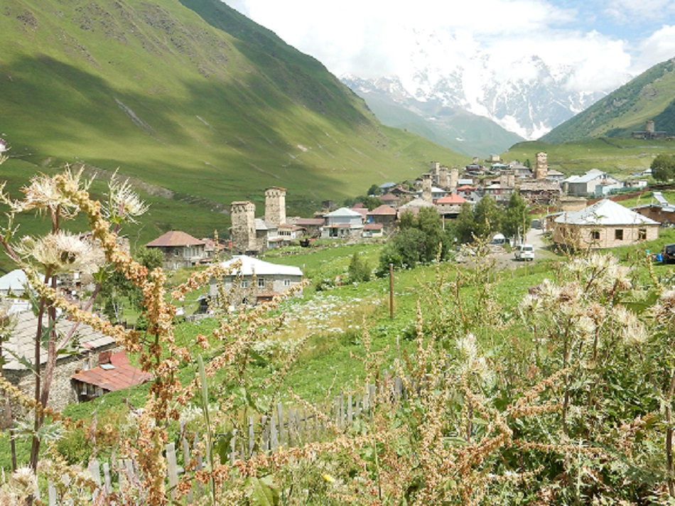 A picture of the scenic countryside in Ushguli, Georgia