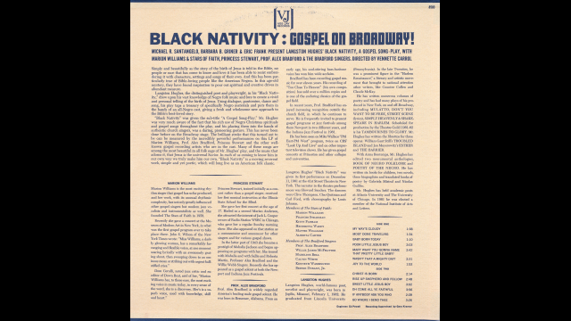 Black Nativity Album Notes