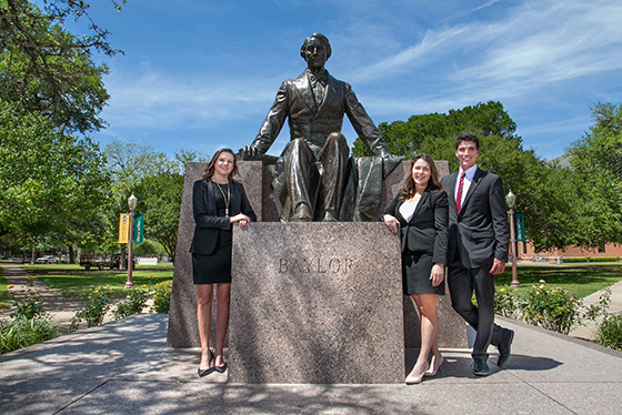 Baylor Students posing with Judge Baylor