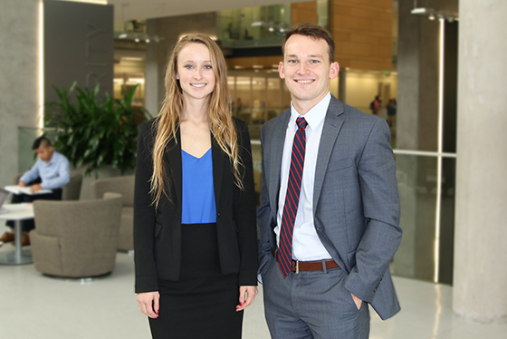 All smiles from two Baylor students in the business school
