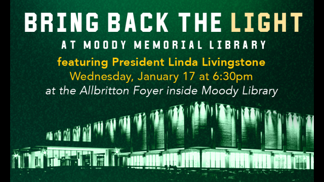 Moody Memorial Library to Hold Relighting Ceremony as Kickoff to 50th Anniversary Celebration