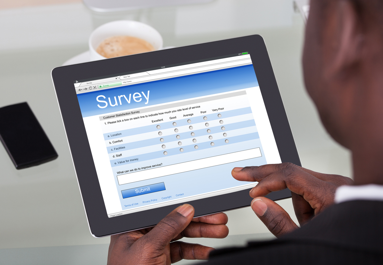 Stock photo of a tablet computer survey
