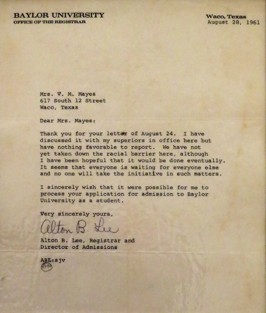 Vivienne Malone-Mayes received this letter after applying to graduate school at Baylor in 1961.