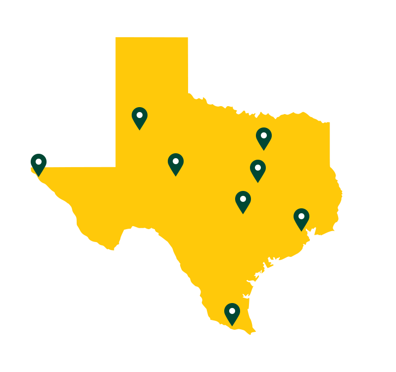 Map of texas with locations marked