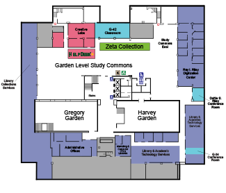 Garden Level map of Moody Library