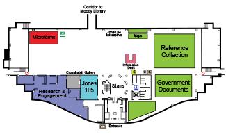 First floor map of Jones Library