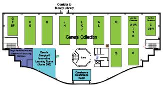 Second floor map of Jones Library
