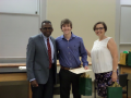 Drs. Simmons and Abel presenting Luke O'Dowd with the Cornelia M. Smith Award