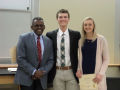 Dr. Simmons with the Butler Scholarship awardees, Harris Rosenblad and Lillian Carter