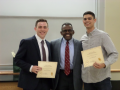Dr. Simmons with Eugene Crowder Memorial Tuition Scholarship Recipients, Andrew Ensenberger and Austin MacDonald