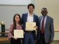 Dr. Simmons with David W. Eldridge Endowed Scholarship Recipients, Jessica De La Fuente and Tristin Chaudhury