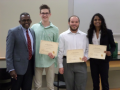 Dr. Simmons with the Folmar Research Grant Recipients, Preston Simpson, Garrett Ray, and Kavita Kantamneni