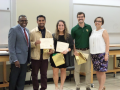 Dr. Simmons and Abel with our graduating Biology Student Ambassadors, Mehul Mistry, Kate Lovell, and Ryan Keck