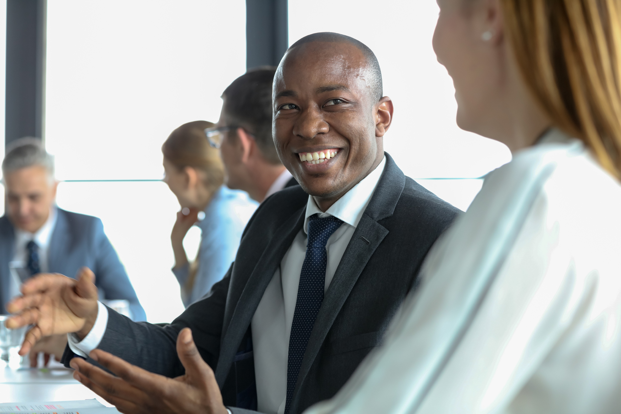 Stock photo of businessman smiling