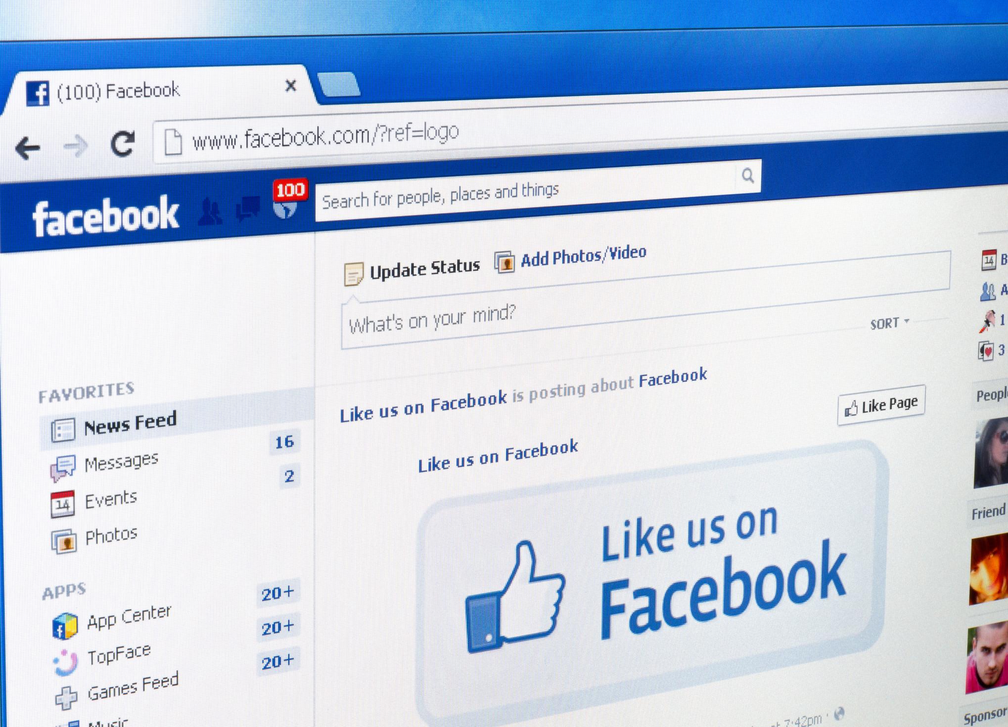 Screenshot of Facebook