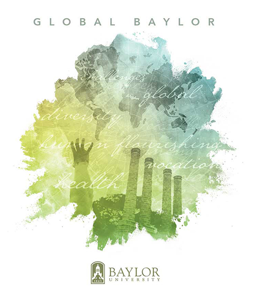 watercolor paining of the Global Baylor Logo