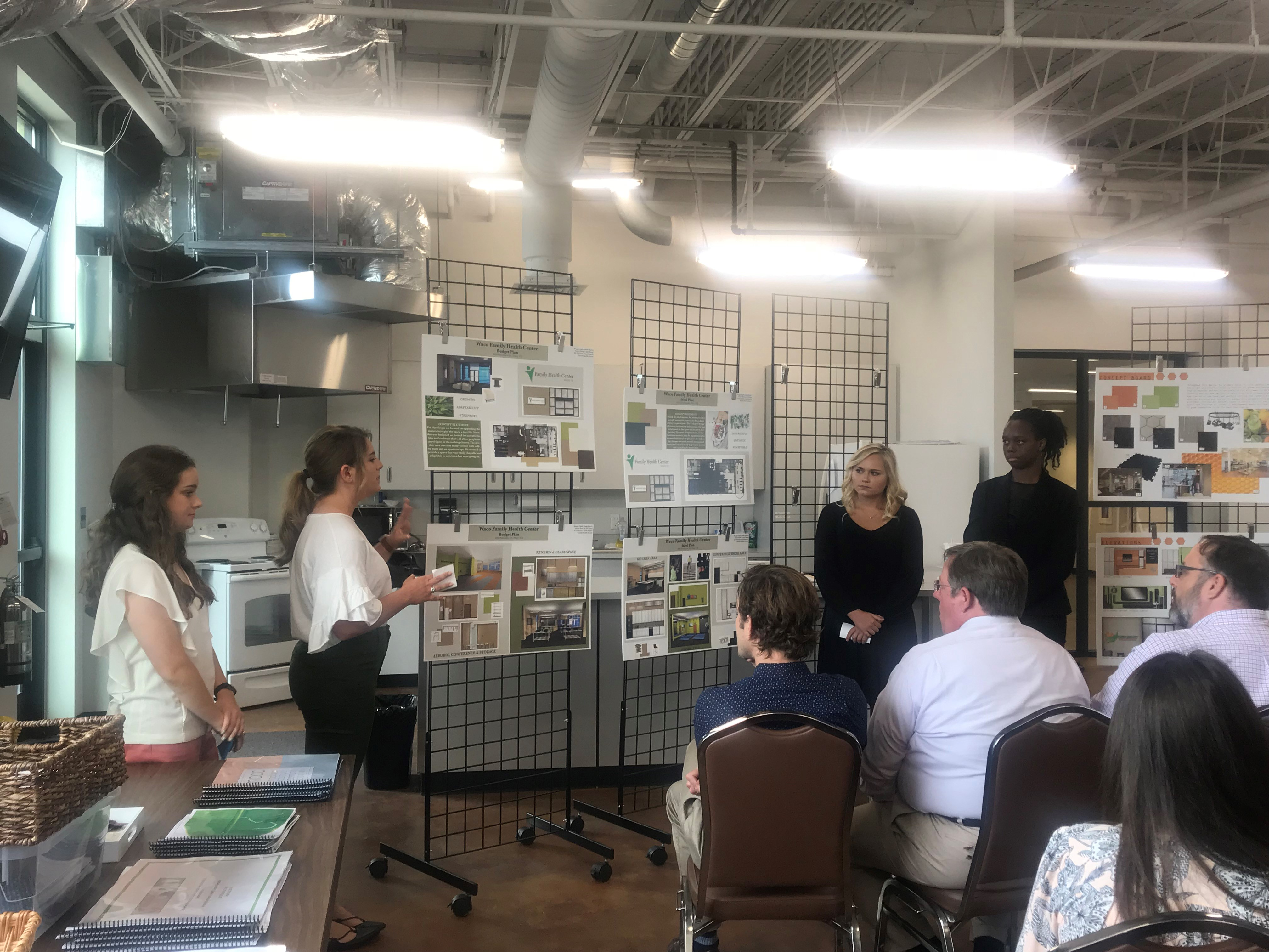 Baylor university interior design students present ideas to waco family health center photos by brooke battersby