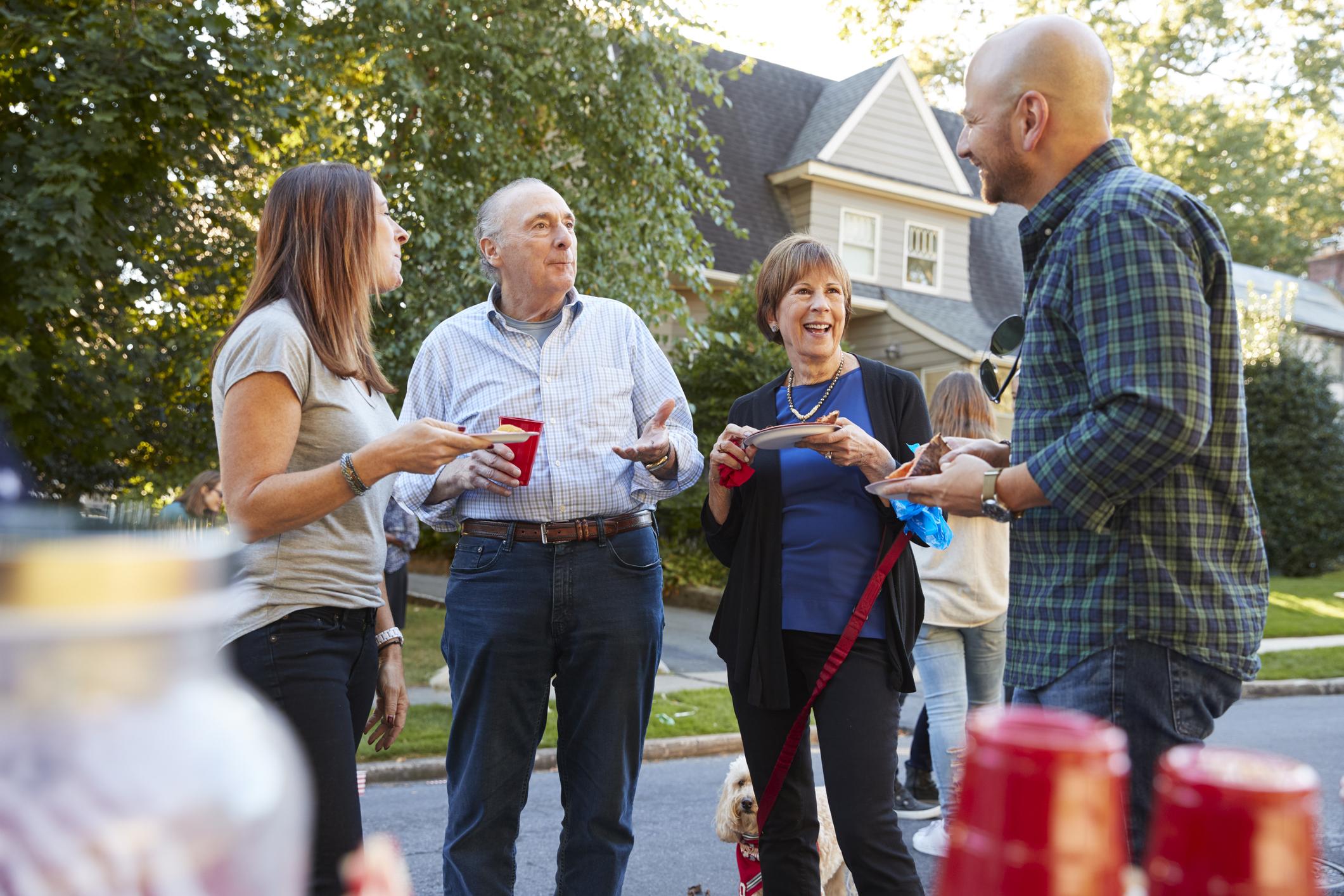 Stock photo of a backyard gathering