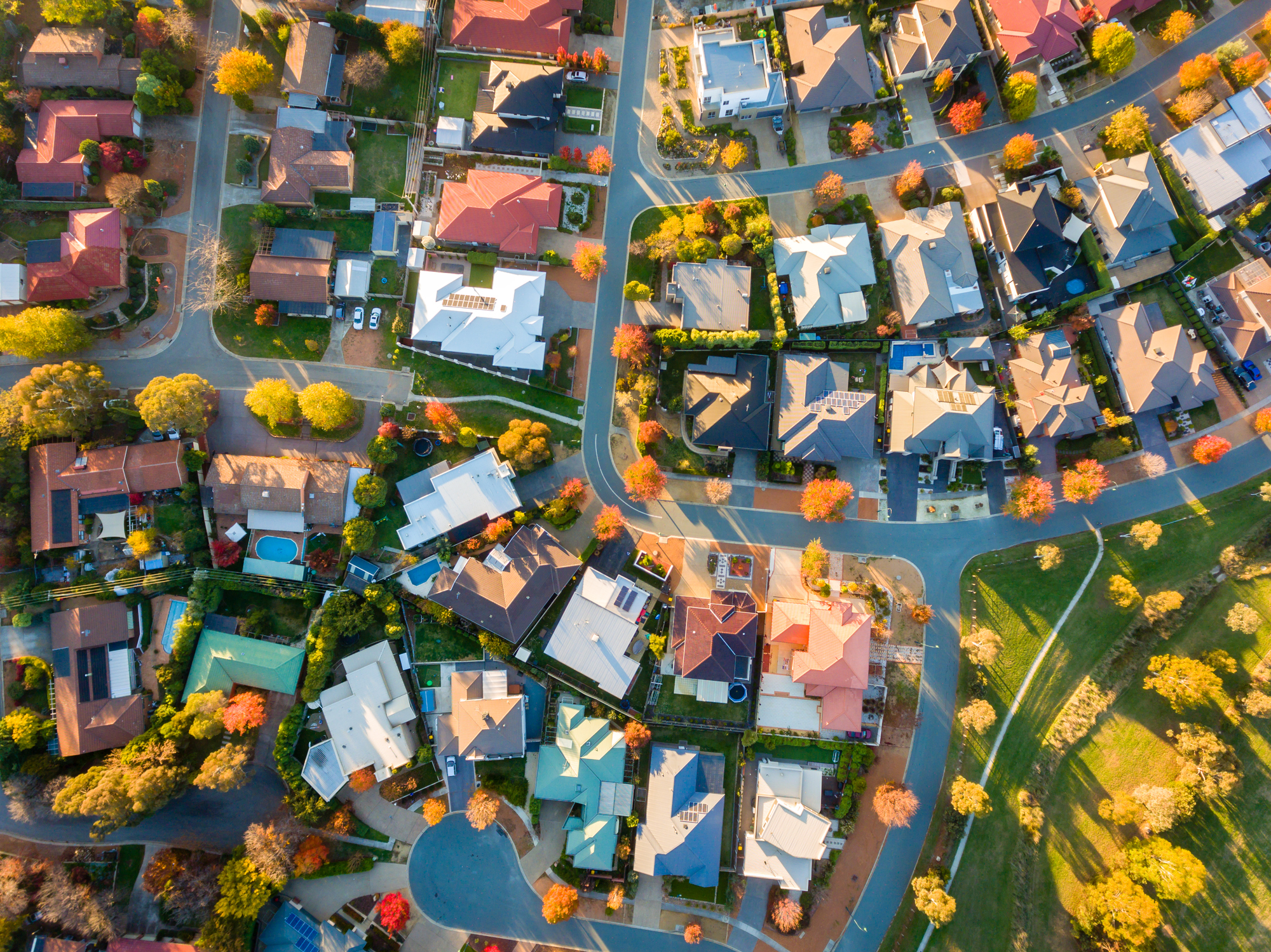 Aerial photo of a housing community