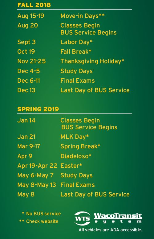 Baylor 2020 Calendar Calendar of Service | Department of Public Safety | Baylor University