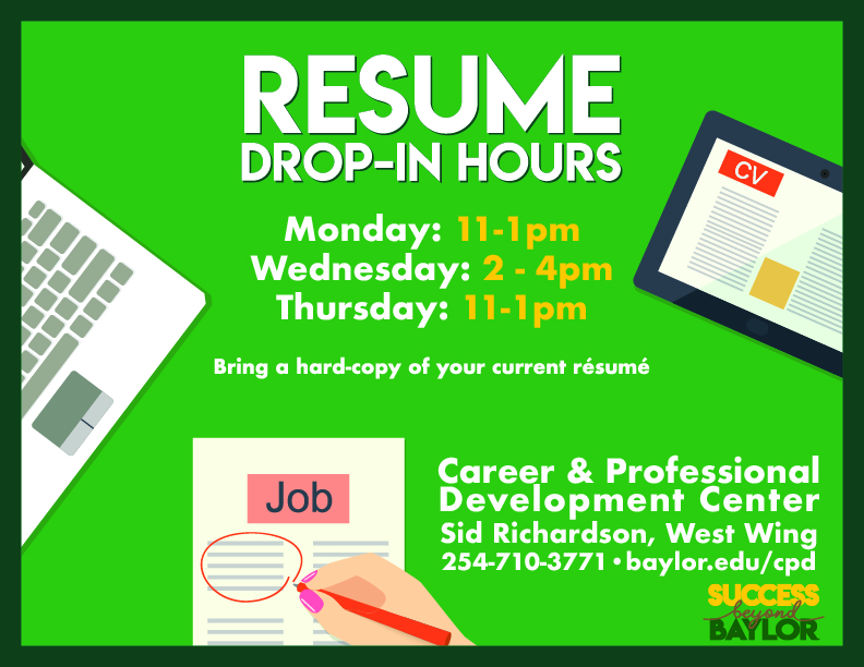Drop In Hours Office Of Career Professional Development Baylor