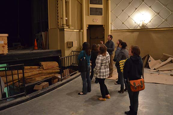 Students in Prof. Eric Ames's Historic Preservation course toured the Waco Hippodrome Theater.