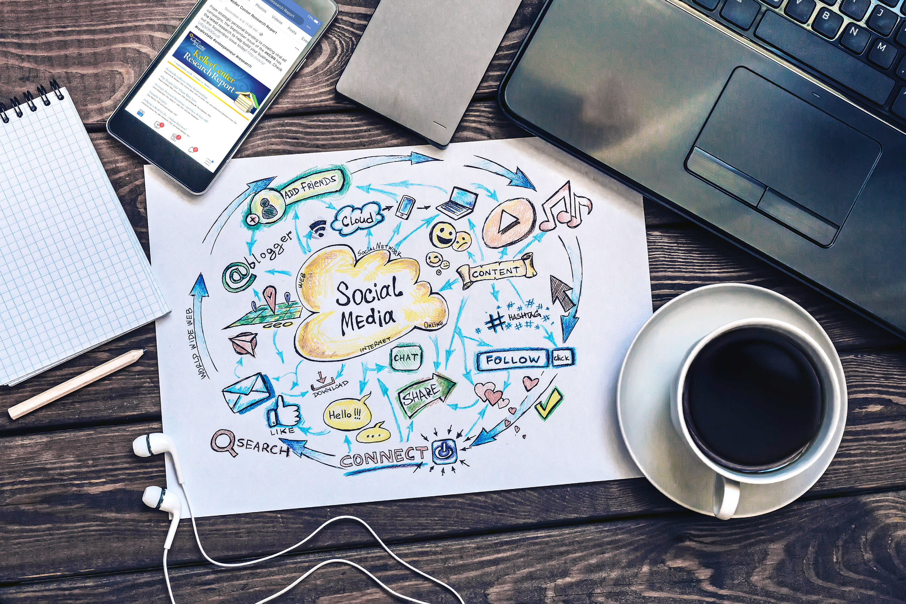 Stock photo of desktop with a drawing of social media on a paper