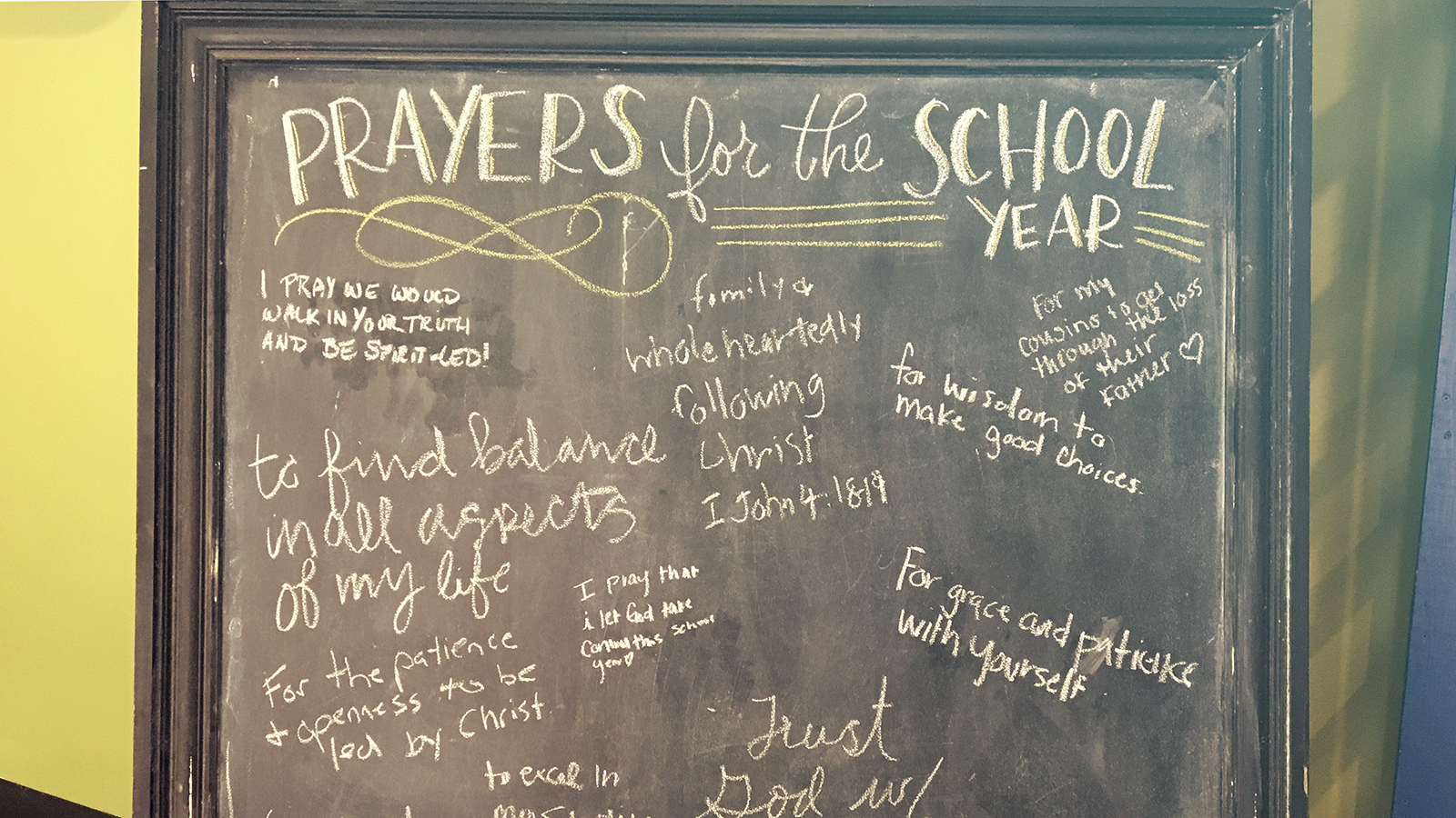chalkboard with prayer requests