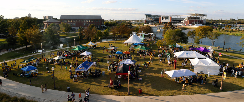 Aerial photo of Baylor Student Tailgating area