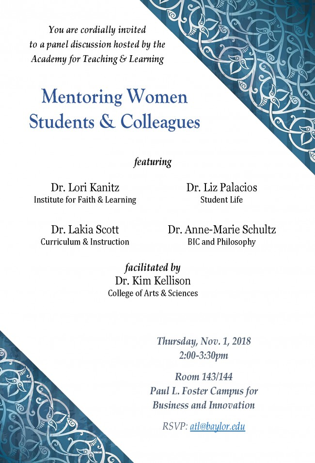 Flyer-Mentoring Women Colleagues and Students Panel 2018-11-01