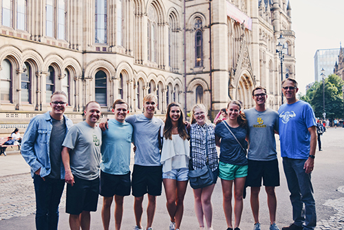 A group of students poses while on the May trip to the UK