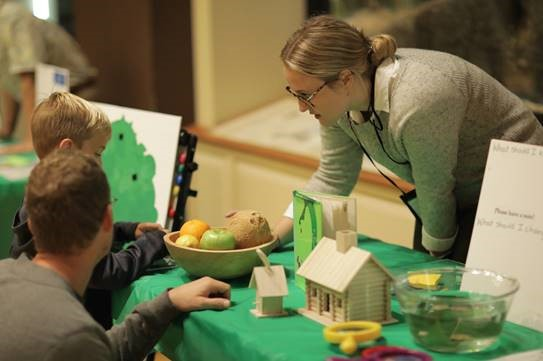 Students in Dr. Kimberly McCray's Museum Education course created gallery teaching projects to facilitate during Sic 'Em Science Day at the Mayborn Museum Complex. Photo credit: Roger Woodruff