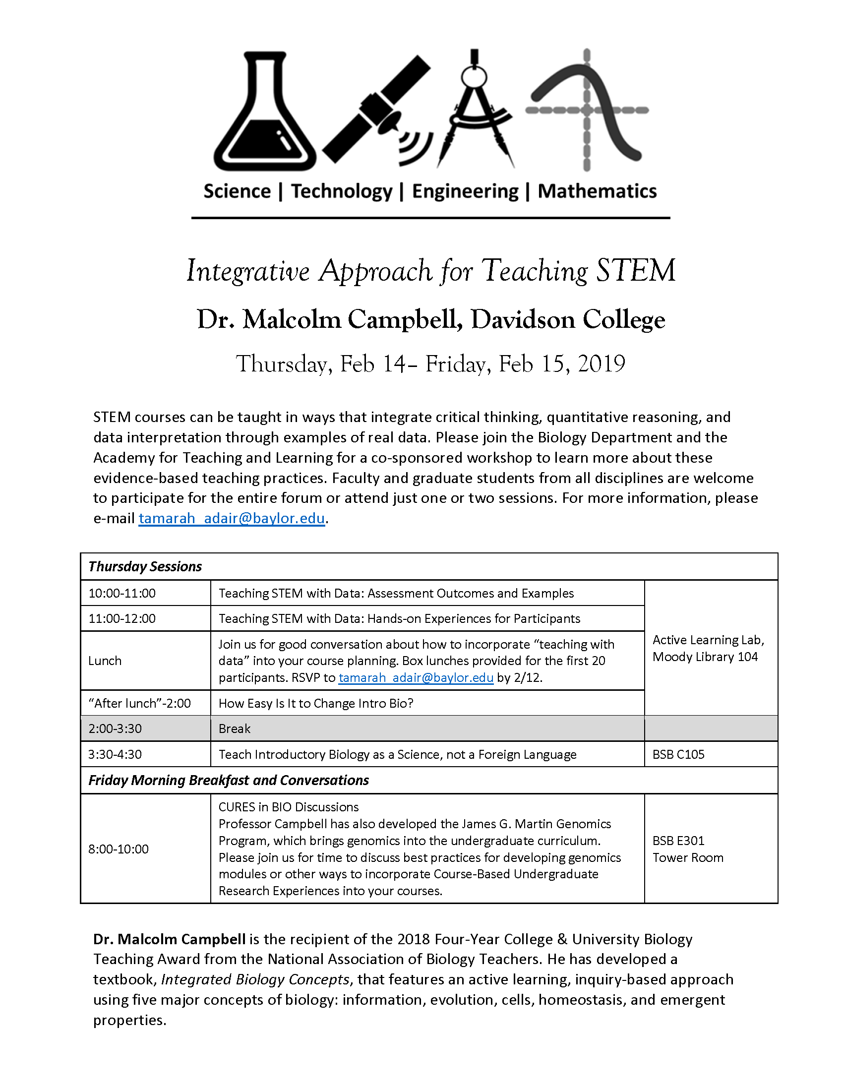 Flyer-Integrative teaching of STEM with Malcolm Campbell 2019-02-14