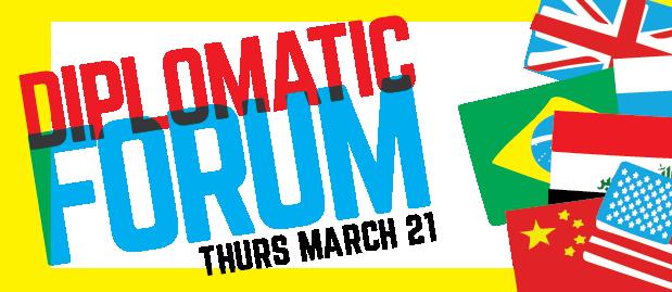 Banner announcing Diplomatic Forum
