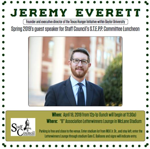 STEPP Luncheon flyer featuring a photo of Jeremy Everett, Texas Hunger Initiative Director and event details found on the information website.