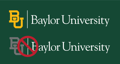 Baylor mark on dark green background