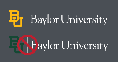 Baylor mark on dark gray background