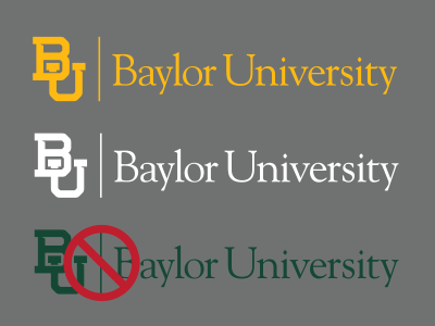Baylor mark on medium gray background