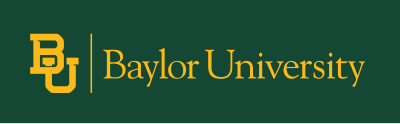 Gold Baylor mark on Baylor green background