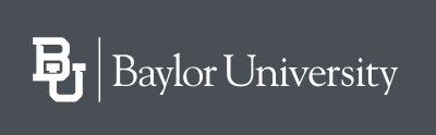 White Baylor mark on dark gray background
