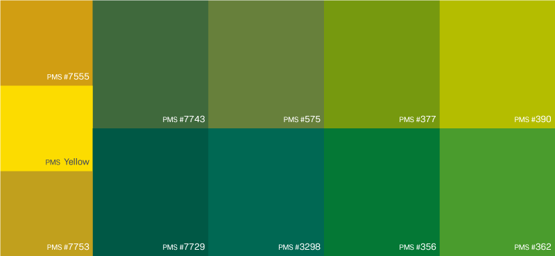 Secondary Green and Gold Color Palette